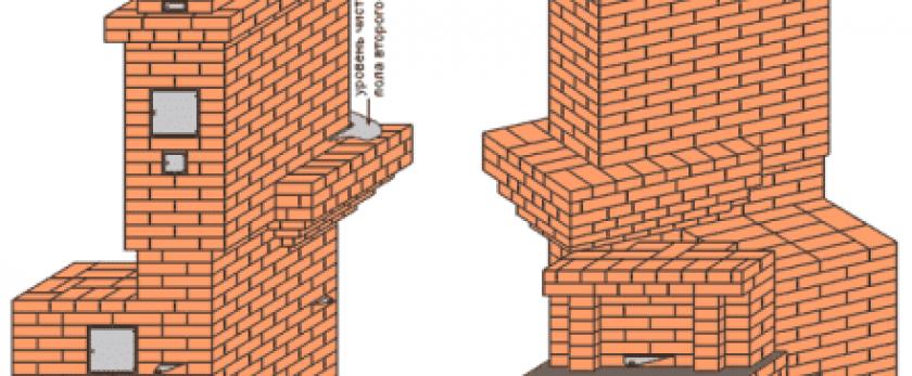 Порядовые схемы для строительства печи на 2 этажа