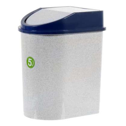 Бак для мусора 5 л цвет белый/синий