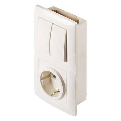 Купить Блок с розеткой Reone 2 клавиши цвет слоновая кость дешевле