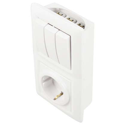 Блок с розеткой Reone 3 клавиши цвет белый