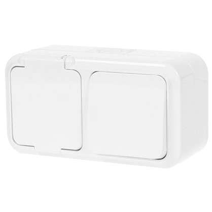 Купить Блок с розеткой ВР-Ц-657 брызгозащищённый 1 клавиша IP54 дешевле
