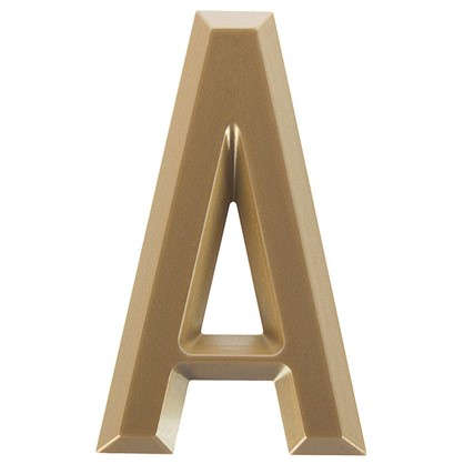 Буква А Larvij самоклеящаяся 60x37 мм пластик цвет матовое золото