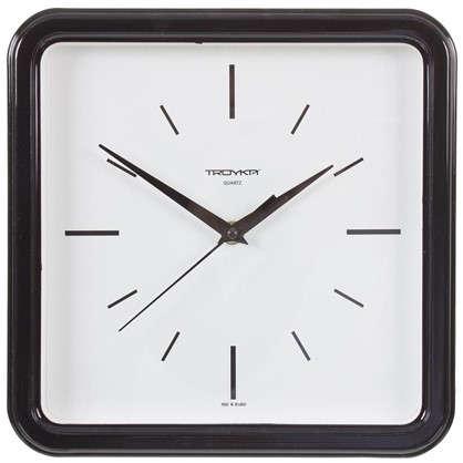 Купить Часы настенные квадратные цвет черный диаметр 25 см дешевле