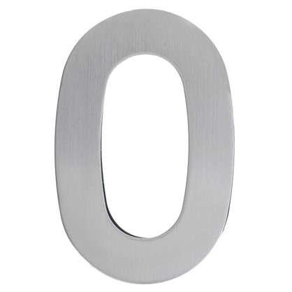Цифра 0 самоклеящаяся 95х62 мм нержавеющая сталь цвет серебро