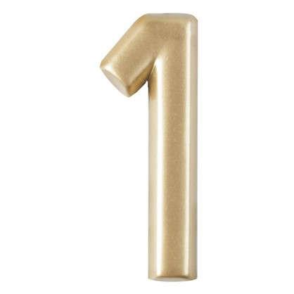Купить Цифра 1 самоклеящаяся 40х32 мм пластик цвет матовое золото дешевле