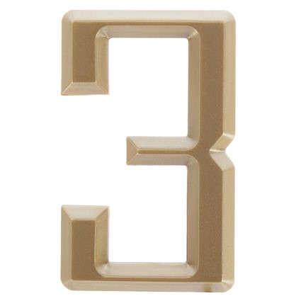 Цифра 3 Larvij самоклеящаяся 60х37 мм пластик цвет матовое золото