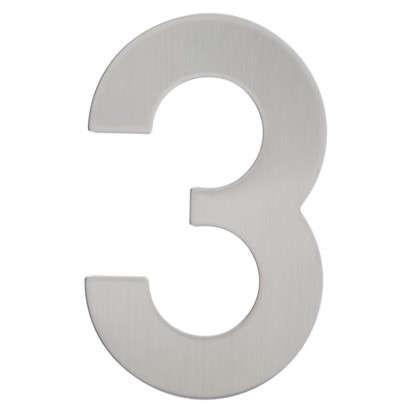 Цифра 3 самоклеящаяся 95х62 мм нержавеющая сталь цвет серебро
