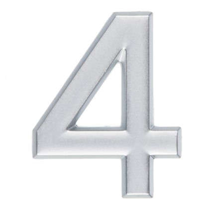 Цифра 4 самоклеящаяся 40х32 мм пластик цвет матовое серебро цена