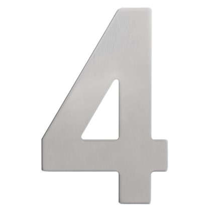 Купить Цифра 4 самоклеящаяся 95х62 мм нержавеющая сталь цвет серебро дешевле