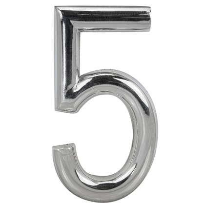 Цифра 5 Larvij самоклеящаяся 60х37 мм пластик цвет матовый хром