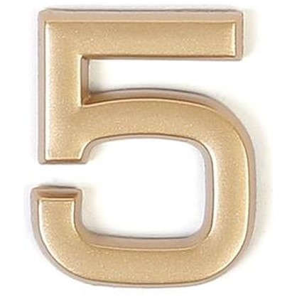 Купить Цифра 5 самоклеящаяся 40х32 мм пластик цвет матовое золото дешевле