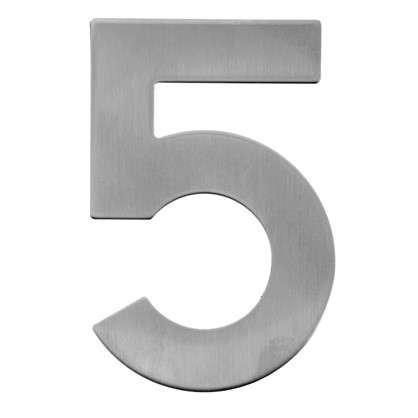 Цифра 5 самоклеящаяся 95х62 мм нержавеющая сталь цвет серебро