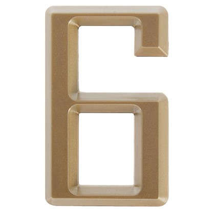 Цифра 6 Larvij самоклеящаяся 60х37 мм пластик цвет матовое золото