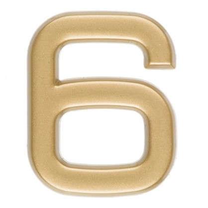 Цифра 6 самоклеящаяся 40х32 мм пластик цвет матовое золото
