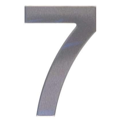 Цифра 7 самоклеящаяся 95х62 мм нержавеющая сталь цвет серебро