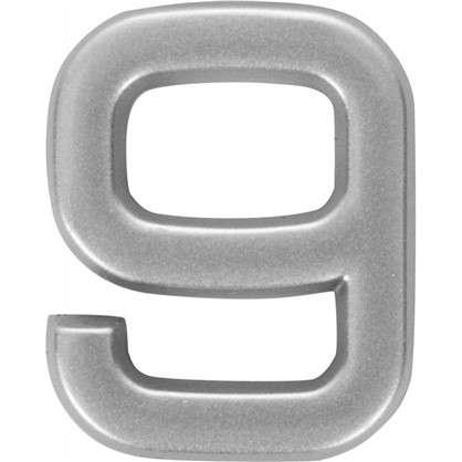 Купить Цифра 9 самоклеящаяся 40х32 мм пластик цвет матовое серебро дешевле