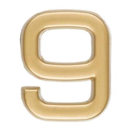 Купить Цифра 9 самоклеящаяся 40х32 мм пластик цвет матовое золото дешевле