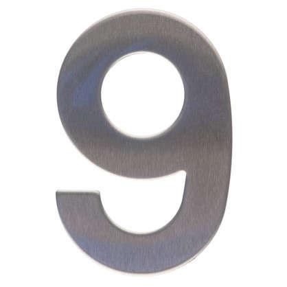 Цифра 9 самоклеящаяся 95х62 мм нержавеющая сталь цвет серебро