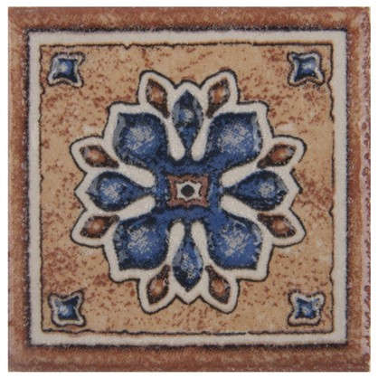 Декор Котто 6х6 см цвет синий/терракотовый