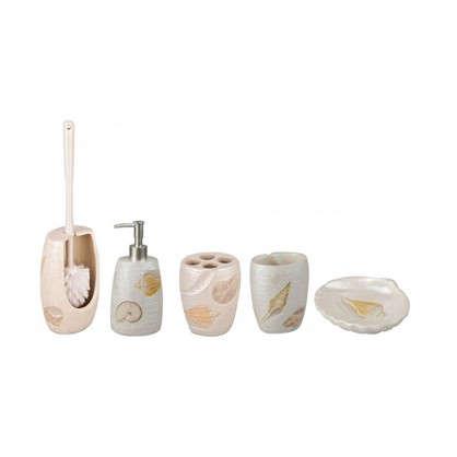 Купить Дозатор настольный для жидкого мыла Raindrops Ракушки цвет бежевый дешевле