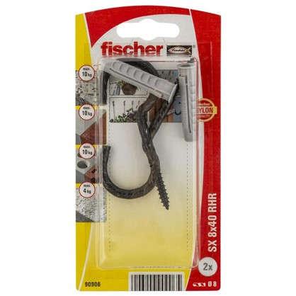 Дюбель для полнотелых материалов Fischer SX с крюком-полукольцом 8x40 мм нейлон цвет коричневый 2 шт.