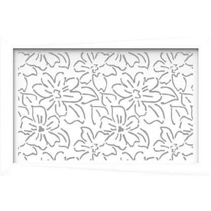 Купить Экран для радиатора Цветы 90х60 см цвет белый дешевле