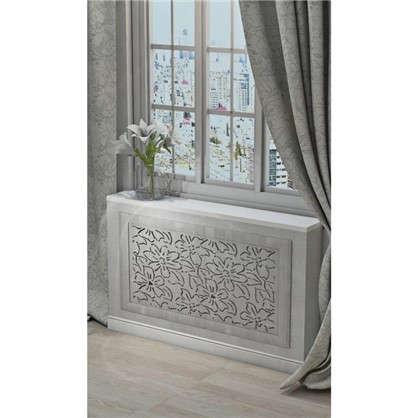 Купить Экран для радиатора Цветы 90х60 см цвет дуб серый дешевле
