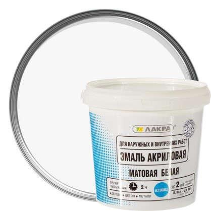 Эмаль акриловая матовая цвет белый 0.9 кг