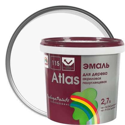 Купить Эмаль Атлас 115 акриловая полуглянцевая цвет белый 2.7 л дешевле