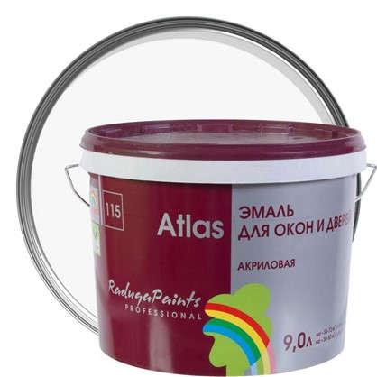 Купить Эмаль Атлас 115 акриловая полуглянцевая цвет белый 9 л дешевле