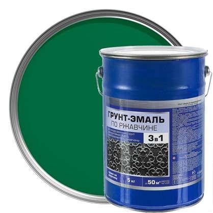 Эмаль-грунт по ржавчине 3в1 цвет зеленый 5 кг