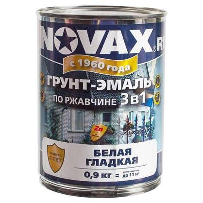 Купить Эмаль-грунт по ржавчине Novax 3в1 цвет белый 0.9 кг дешевле