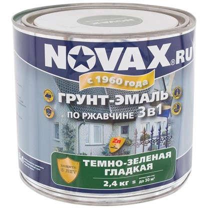 Купить Эмаль-грунт по ржавчине Novax 3в1 цвет темно-зеленый 2.4 кг дешевле