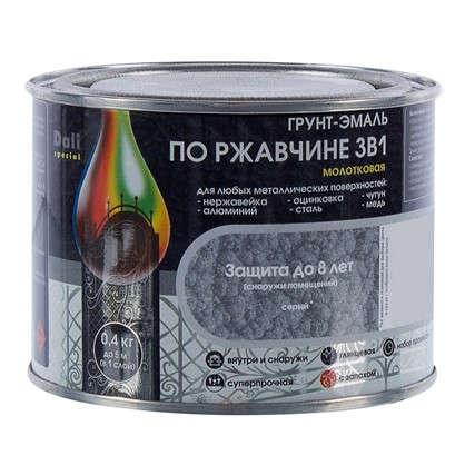 Купить Эмаль молотковая Dali 3в1 цвет серый 0.4 кг дешевле