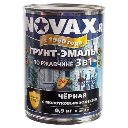 Купить Эмаль молотковая Novax 3в1 цвет черный 0.9 кг дешевле