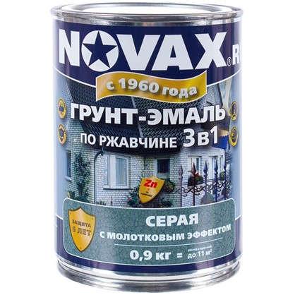 Купить Эмаль молотковая Novax 3в1 цвет серый 0.9 кг дешевле