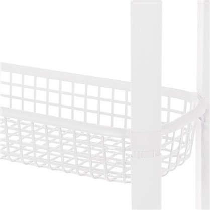 Купить Этажерка узкая на колёсах 4 ящика 59х79х18 см цвет белый дешевле