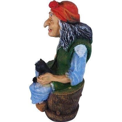 Купить Садовая фигура Баба Яга с кошкой высота 92 см дешевле