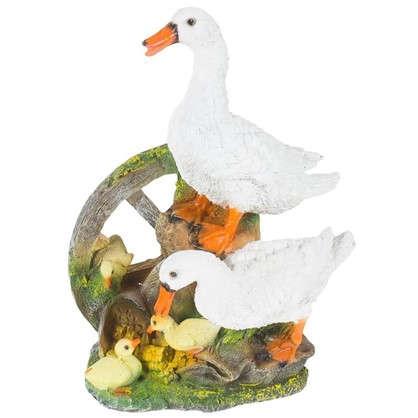 Купить Садовая фигура Гусиная семья на колесе h41 см L30 см дешевле