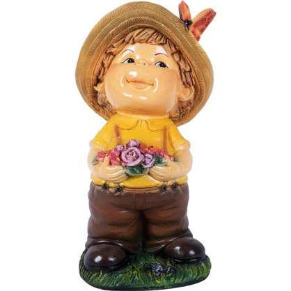 Садовая фигура Мальчик с цветами высота 48 см
