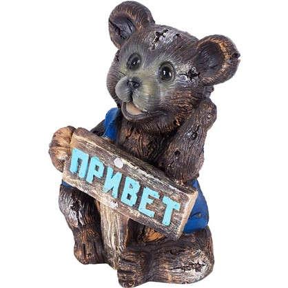 Садовая фигура Мишка с табличкой Привет h24 см