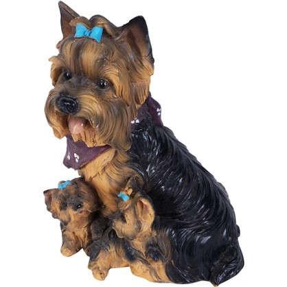 Садовая фигура Собака Йорк с щенками h30 см