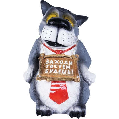 Купить Садовая фигура Волк с табличкой в галстуке высота 60 см дешевле
