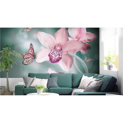 Фотообои флизелиновые Орхидеи бабочки 370х200 см