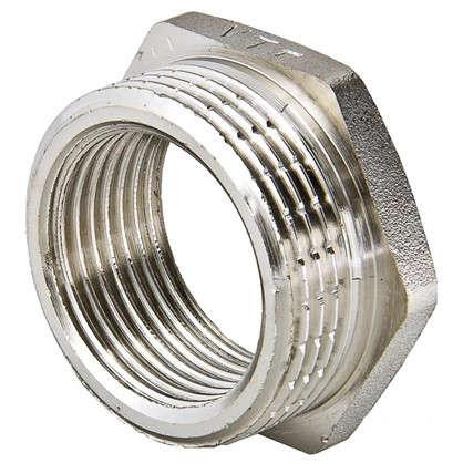 Футорка наружная-внутренняя резьба 1 1/2х1 никелированная латунь