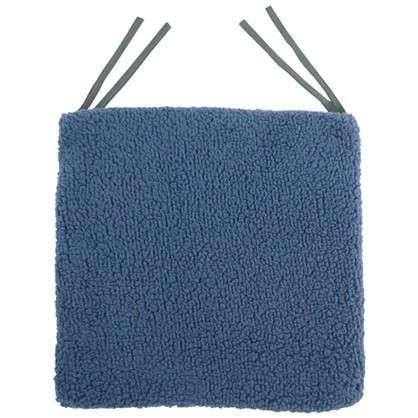 Купить Галета для стула Шерпа 40x40 см цвет серо-синий дешевле