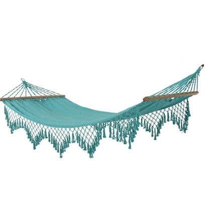 Купить Гамак садовый с бахромой 100x200 см хлопок цвет голубой дешевле