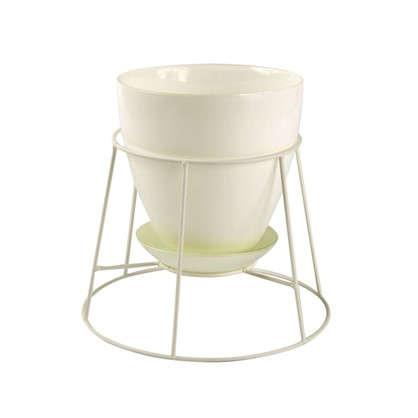 Купить Горшок 0.85 л 13.2 см стекло цвет прозрачный белый дешевле
