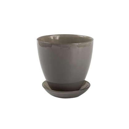 Горшок 0.85 л 13.2 см стекло цвет прозрачный серый