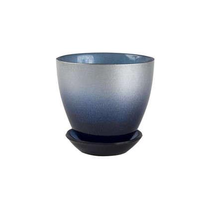 Горшок №1 0.45 л 11 см стекло с поддоном цвет металлик индиго